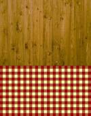 Traditional wooden background with tablecloth red yellow — 图库照片