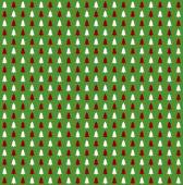 Green Christmas Background with red and white christmas trees illustration — Stock Photo