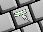 Computer Keyboard showing thank you — Stock Photo