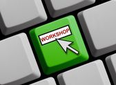 Computer Keyboard showing workshop — Stock Photo