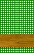 Background - green Tablecloth with wooden board — Stock Photo