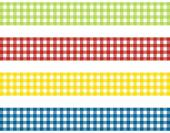 Tablecloth stripes green red orange and blue — Stock Photo
