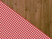 Rustic wood background with red white tablecloth — Stock Photo