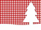 Christmas background - tablecloth red white with white fir tree — Stock Photo
