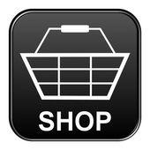 Botão preto mostrando a loja — Fotografia Stock