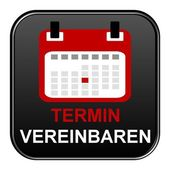 Black Button showing appointment german — Stock Photo