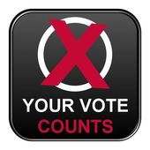 Modern isolated black Button with symbol showing your vote counts — Stock Photo