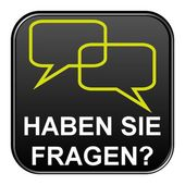 Black Button showing do you have questions german — Stock Photo