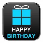 Black Button showing happy birthday — Stock Photo