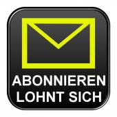 Black Button showing subscribe for newsletter german — Stock Photo