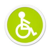 Rund Button showing wheelchair — Stock Photo