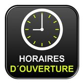 Black Button showing opening times in french — Stock Photo