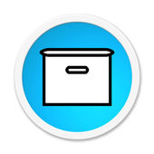 Round Button showing box — Stock Photo