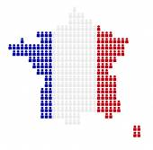 Map of France with icons in national colors — Stock Photo