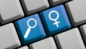 Search for women online — Stock Photo