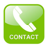 Isolated green Button contact — Stock Photo