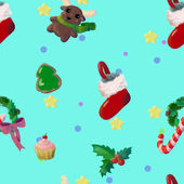 Turquoise Christmas seamless pattern with Christmas items — Fotografia Stock
