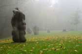 Holy place in Sigulda. Shrines in the fog. — Stock Photo