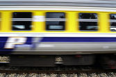 Background of a fast moving train — Stock Photo