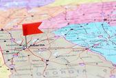 Atlanta pinned on a map of USA — Stock Photo