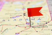Montgomery pinned on a map of USA — Stock Photo