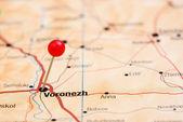 ヴォロネジはヨーロッパの地図にピン留め — ストック写真