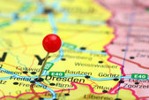 Dresden pinned on a map of europe — Stock Photo