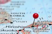 Asya harita üzerinde pinned Hiroşima — Stok fotoğraf