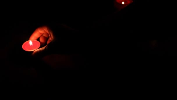 Hand Moved Candles Small Lights — Vidéo