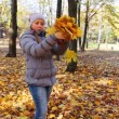 Girl Stands And Scatters Leaves — Stock Video #69611193