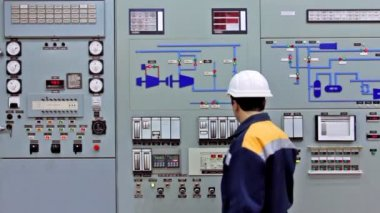 Engineer Check Main Control Panel — Stock Video