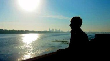 Guy Silhouette Sunrise — Stock Video