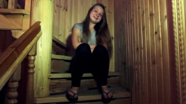 Teen Girl On Stairs — Stock Video