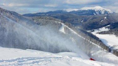 Snow Gun At Beautiful Mountains — Stock Video