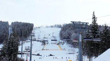 Kış ormandaki uzun kayak asansörleri — Stok video