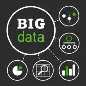 BigDataIllustrationBlackBG01 — Stock Vector