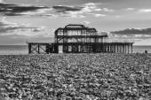 Sundown by Old Brighton Pier — Stock Photo