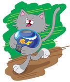 Amusing cat and aquarium — Stock Vector
