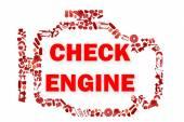 Verifique o símbolo de luz de motor quando algo dá errado com o motor. — Fotografia Stock