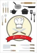 Chef hat and utensils, vector collection — Stock Vector