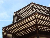 Detail of pagoda roof with blue sky — Stockfoto