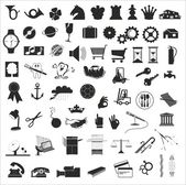 A set of various vector design elements in black and white — Stock Vector