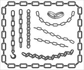 Set of vector chains — Stock Vector