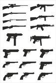 Vector collectie van wapen silhouetten — Stockvector