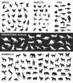 Big collection of vector silhouettes of various animals — Stock Vector