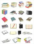 Vector illustration of various books in different position — Vector de stock