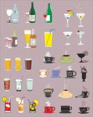 Set of isolated various drinks, vector illustration — Stok Vektör