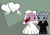 Hippo married cartoon background — Vector de stock