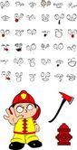 Firefighter kid cartoon set8 — Stock Vector