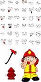 Firefighter kid cartoon set3 — Stock Vector